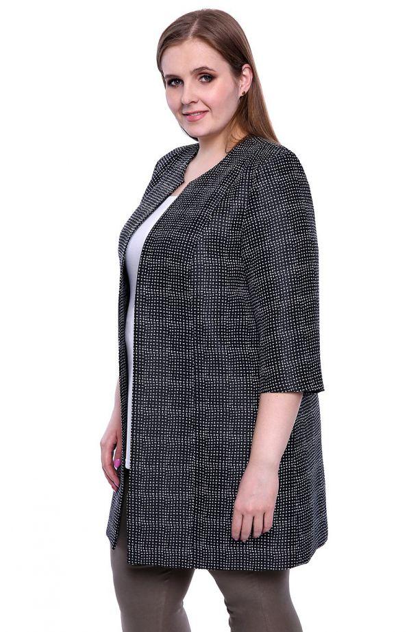 Czarny płaszcz w biały wzór