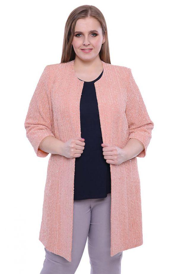 Pudrowy fakturowany płaszcz z połyskiem