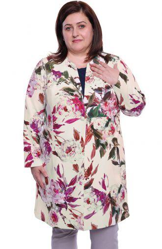 Mleczny płaszcz w akwarelowe kwiaty