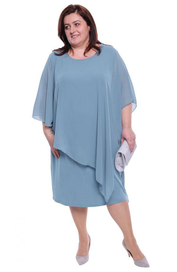 Jasnoniebieska sukienka z narzutką