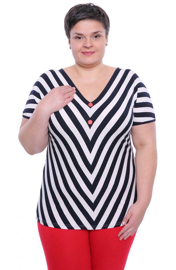 Granatowo-biała bluzka w paski z guziczkami