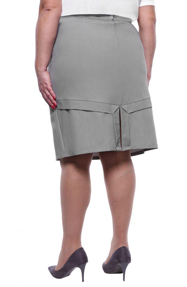 Jasnoszara spódnica z efektownym wykończeniem