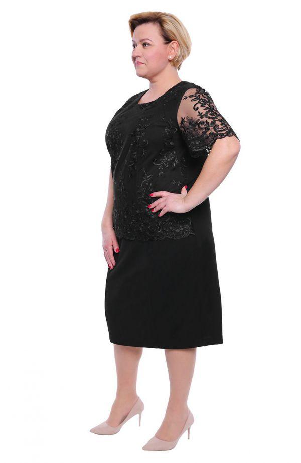 Czarna sukienka z gipiurowym haftem