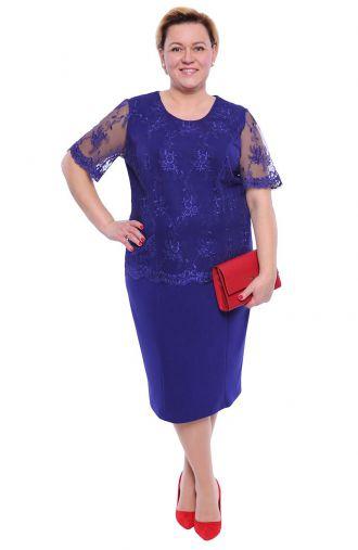 Chabrowa sukienka z gipiurowym haftem