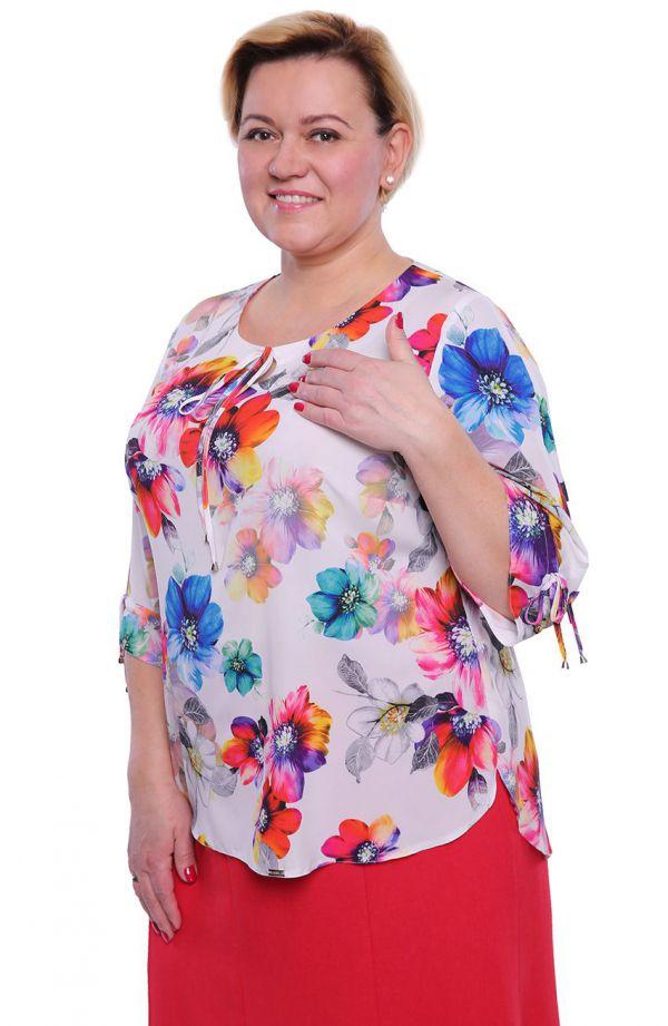 Mleczna bluzka w kolorowe kwiaty