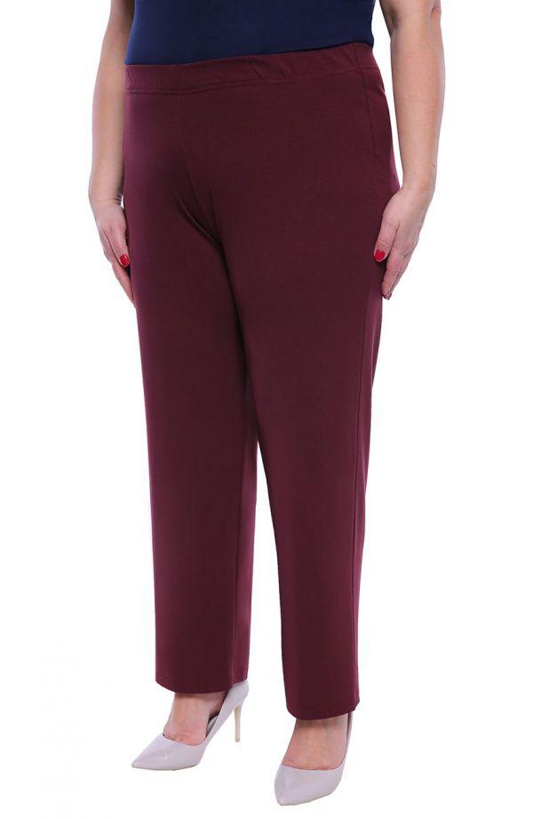 Klasyczne cienkie spodnie w śliwkowym kolorze