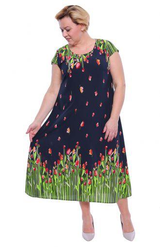 Długa lekka sukienka tulipany na łące