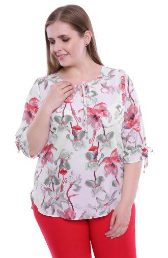 Mleczna bluzka w karmazynowe kwiaty
