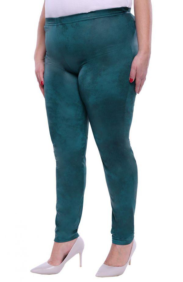 Skórkowe legginsy w kolorze morskiej zieleni