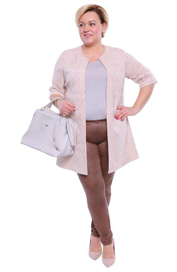 Skórkowe legginsy w kolorze jasnego brązu