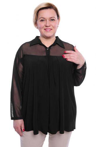Elegancka czarna tunika wykończona szyfonem