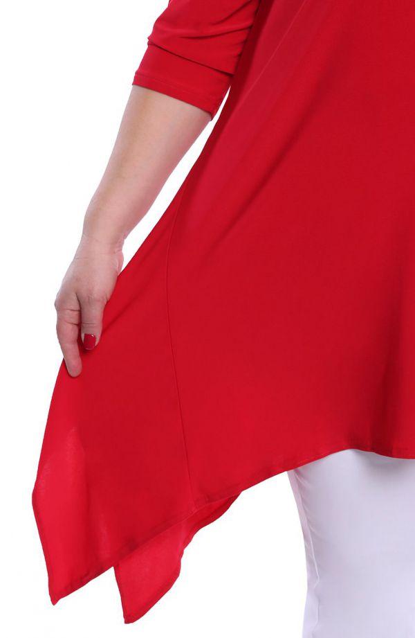 Czerwona tunika z przedłużanymi bokami