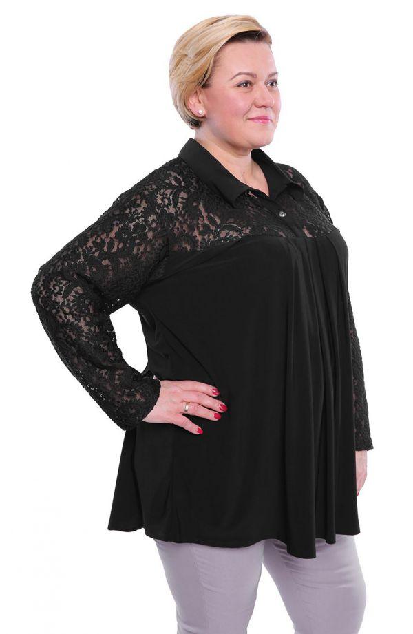 Tuniki damskie - elegancka czarna tunika wykończona koronką