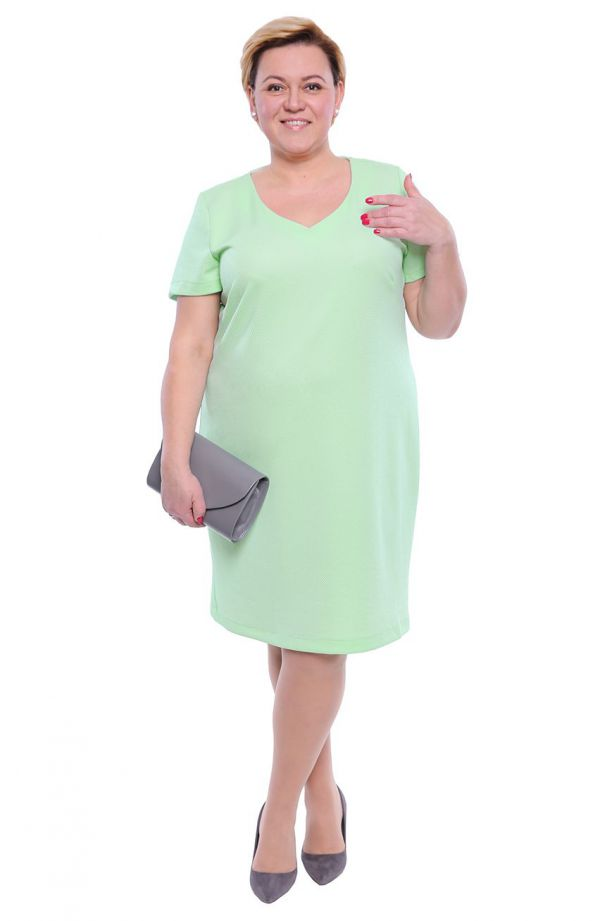 Miętowa fakturowana sukienka dekolt V