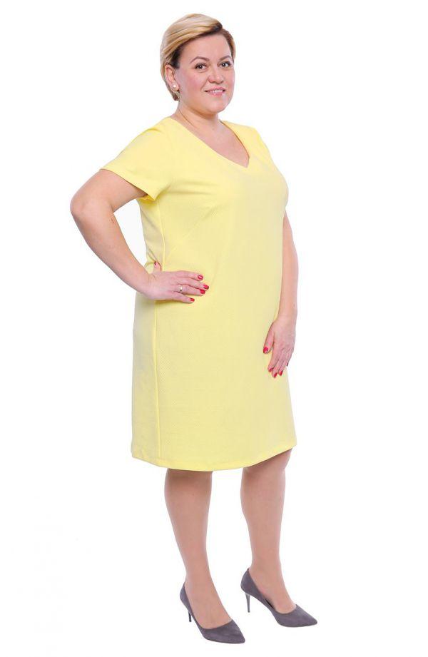 Słoneczna fakturowana sukienka dekolt V