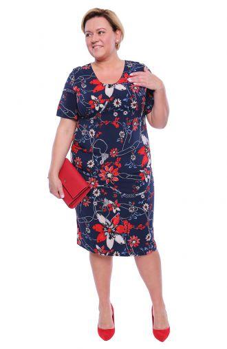 Granatowa sukienka w karmazynowe kwiaty