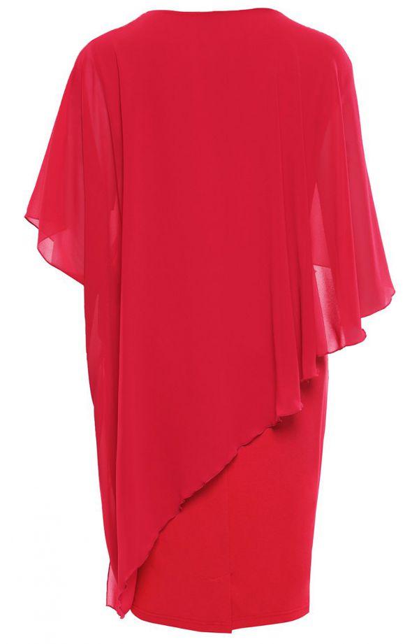 Sukienka z narzutką w kolorze czerwonej maliny