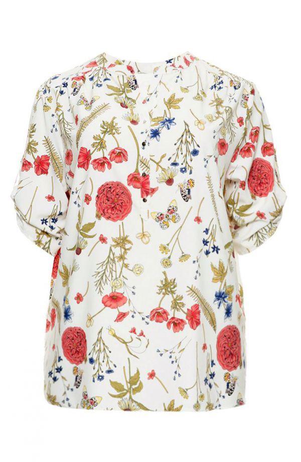 Luźna śmietankowa koszula w kwiaty i motyle