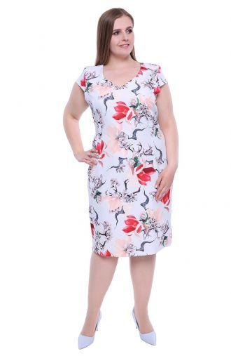 Błękitna sukienka czerwone magnolie