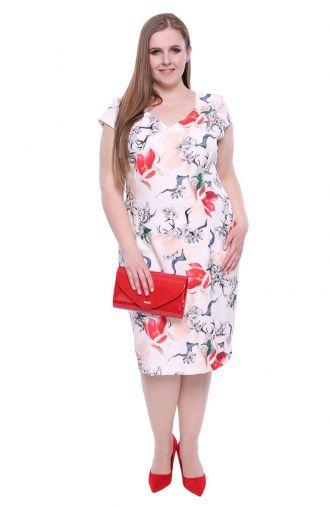 Kremowa sukienka czerwone magnolie