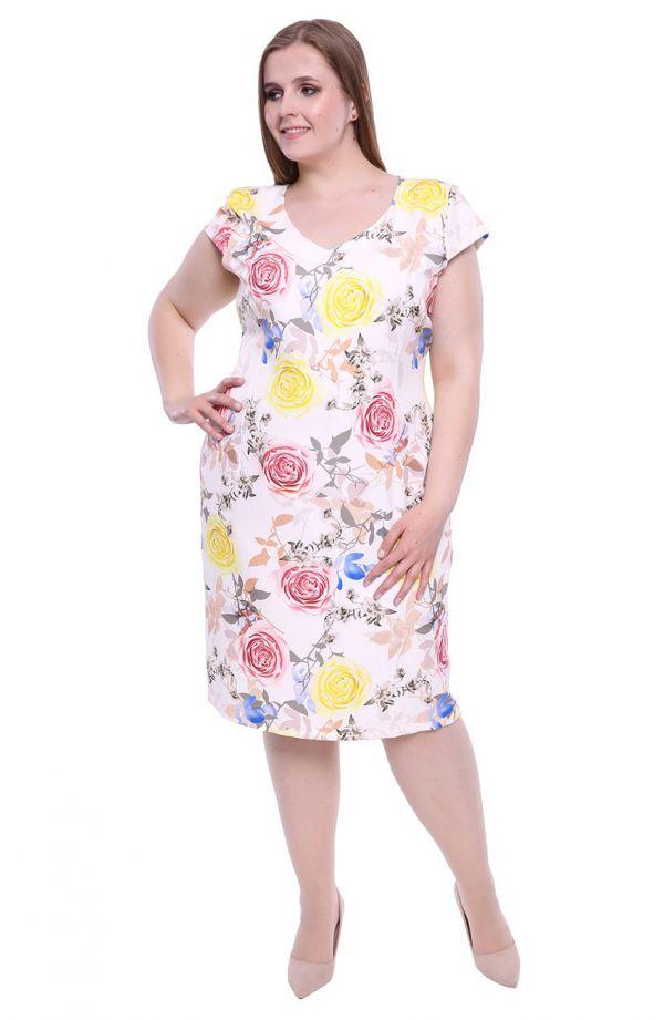 Ołówkowa sukienka w róże