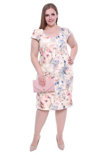Ołówkowa sukienka pastelowy wzór