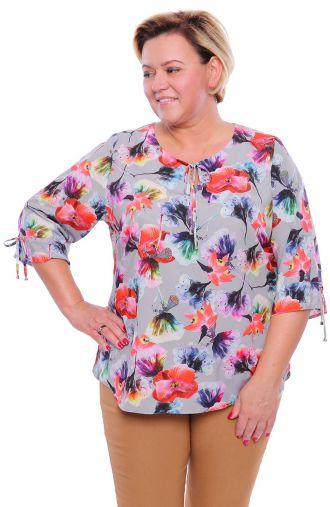 Gołębia bluzka w kolorowe kwiaty
