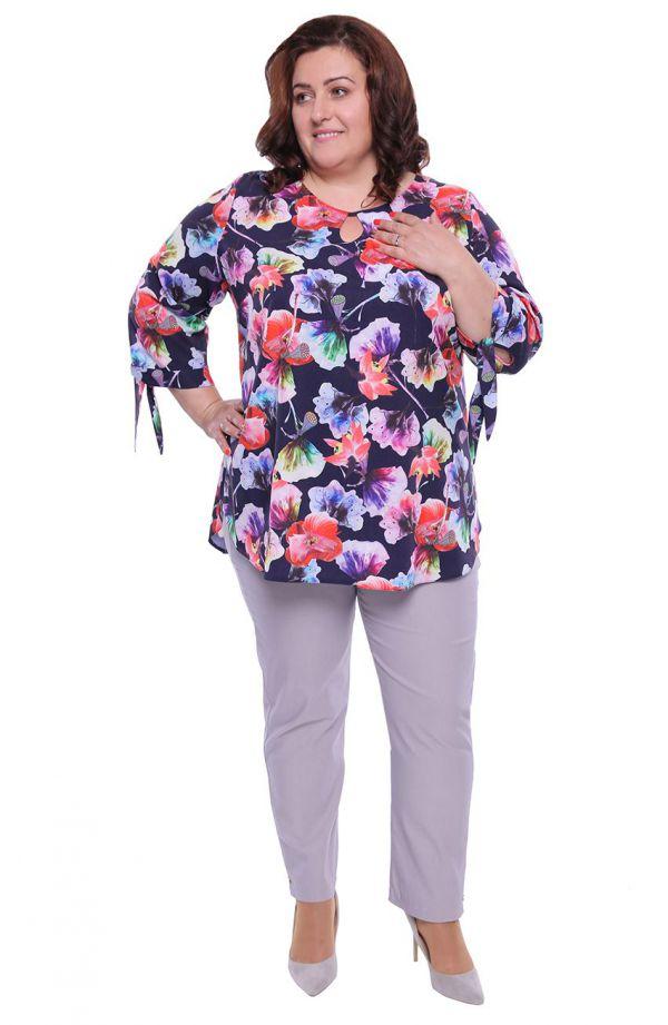 Bluzka z wiązanymi rękawkami tęczowe kwiaty