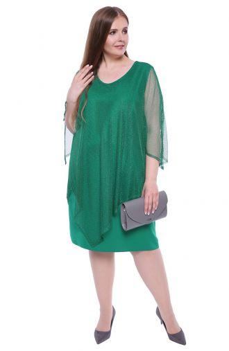 Malachitowa sukienka z siateczkową narzutką