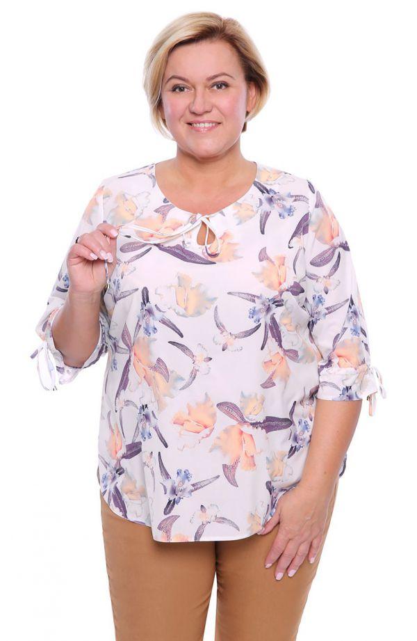 Alabastrowa bluzka w pastelowe kwiaty