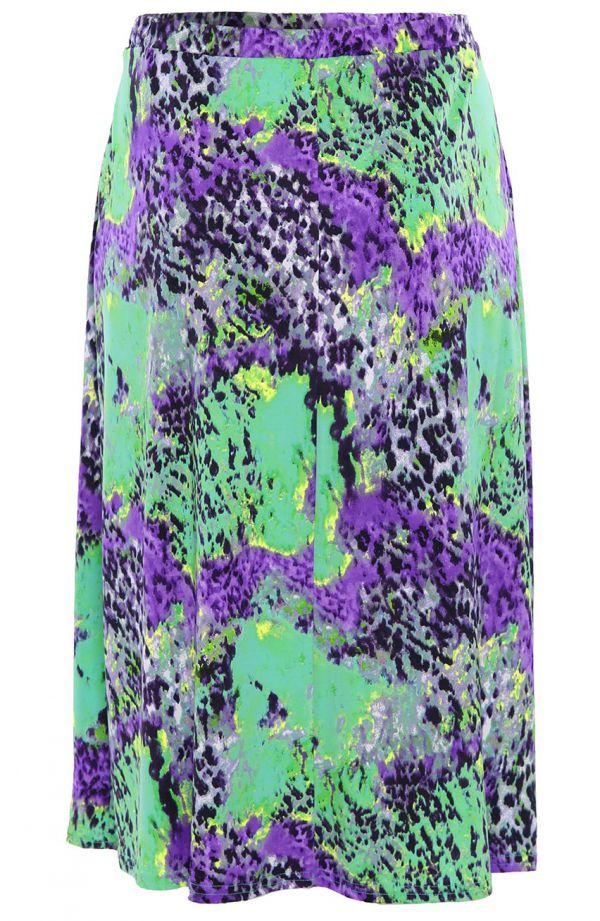 Spódnica w panterkę soczysta zieleń i fiolet
