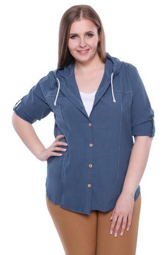 Niebieska bawełniana bluzka z kapturem