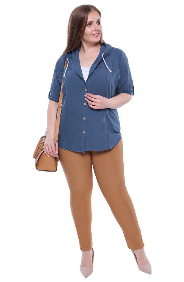 "Niebieska bawełniana bluzka z kapturem -<span data-sheets-value=""{&quot;1&quot;:2,&quot;2&quot;:&quot;sklep dla puszystych&quot"