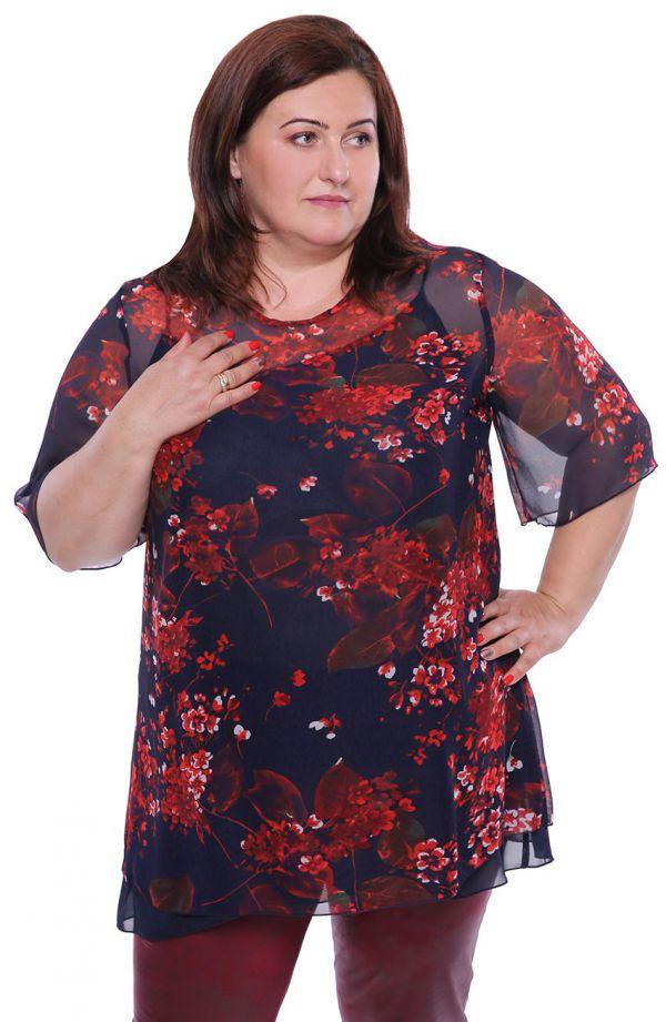 Granatowa dwuczęściowa bluzka czerwone kwiaty