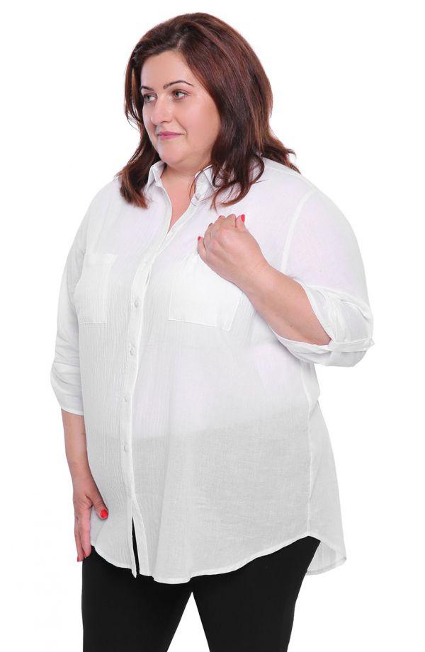 Lniana koszula w kolorze mlecznej bieli
