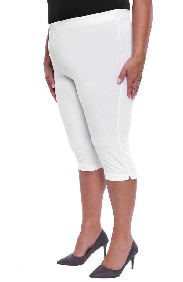 Wiskozowe legginsy w białym kolorze