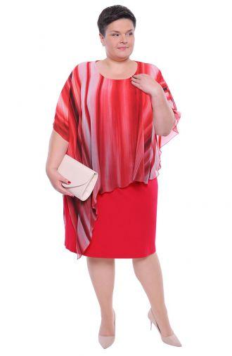 Sukienka z narzutką czerwono-malinowe ombre