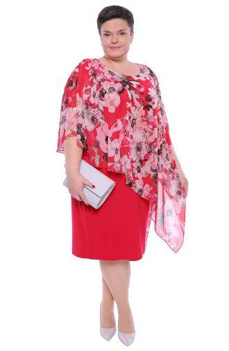 Karmazynowa sukienka z narzutką w kwiaty