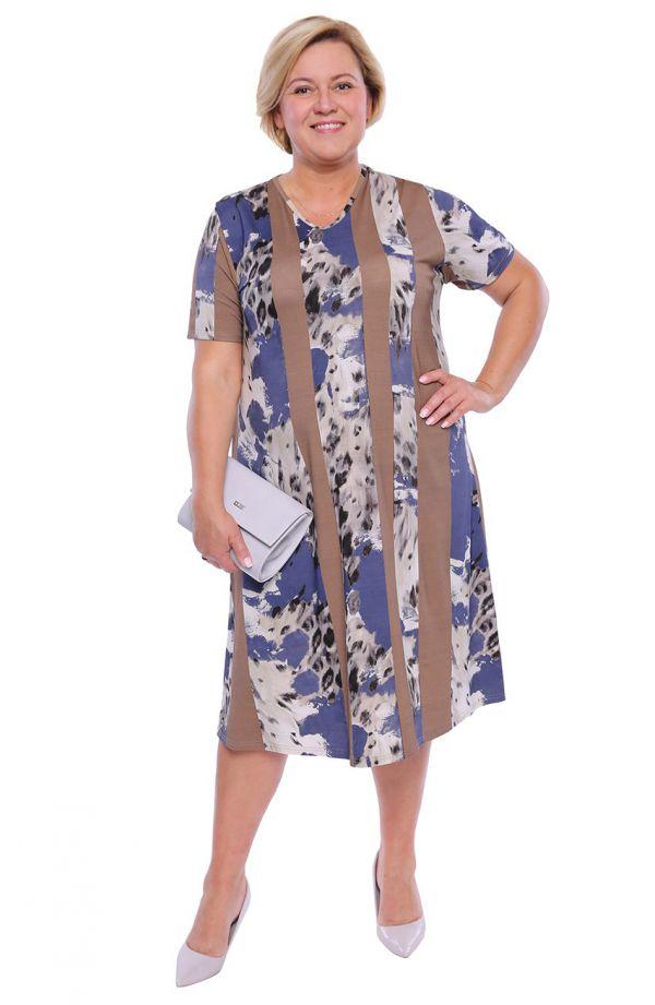 Sukienka w panterkę i orzechowe paski