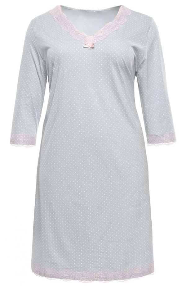 Groszkowana koszula nocna z koronką Mewa