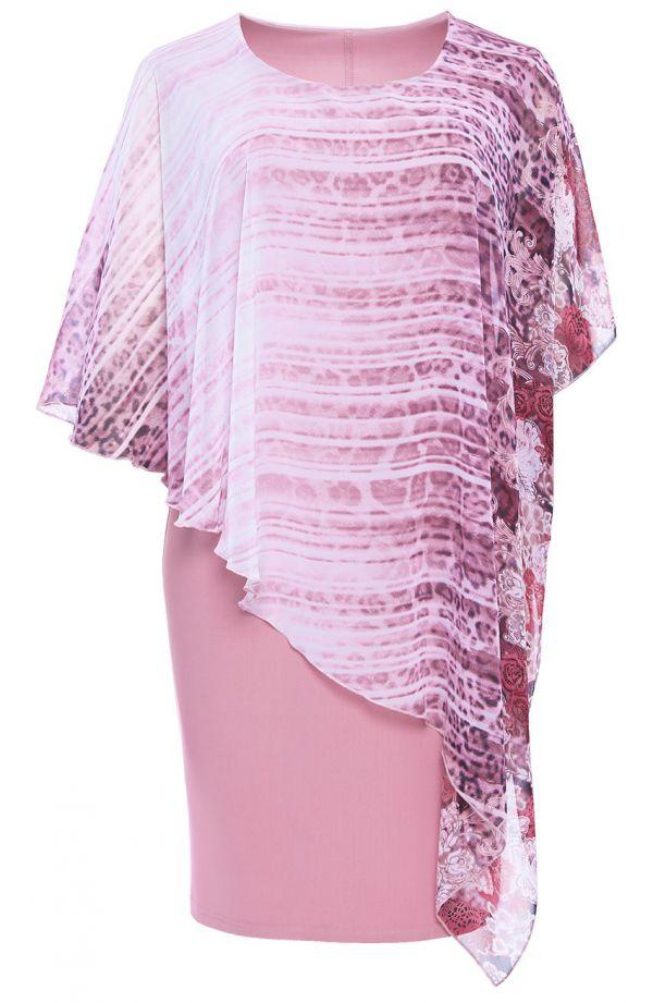 Sukienka z narzutką lawendowe cętki