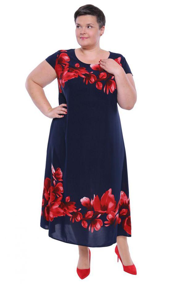 Długa lekka sukienka w czerwone magnolie