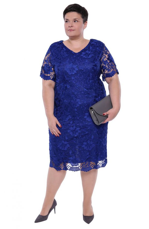 Chabrowa sukienka z gipiurową koronką