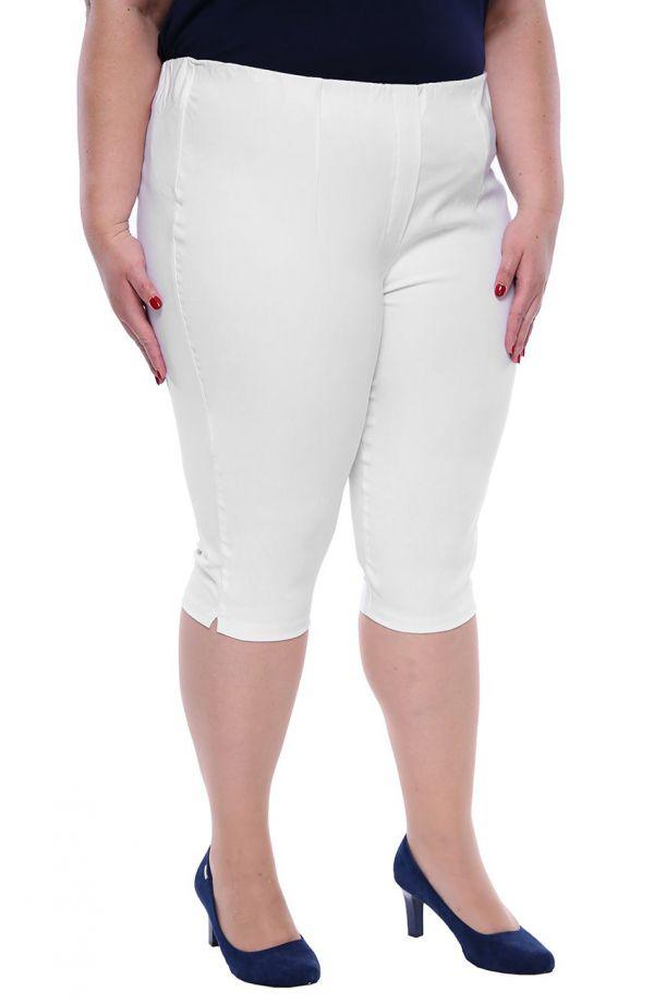 Białe krótsze spodnie z wysokim stanem