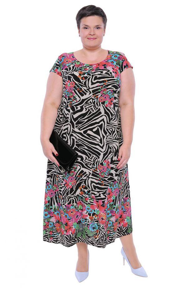 Długa lekka czarna sukienka we wzór zebra