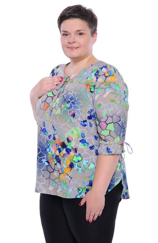 Gołębia bluzka w kolorową mozaikę