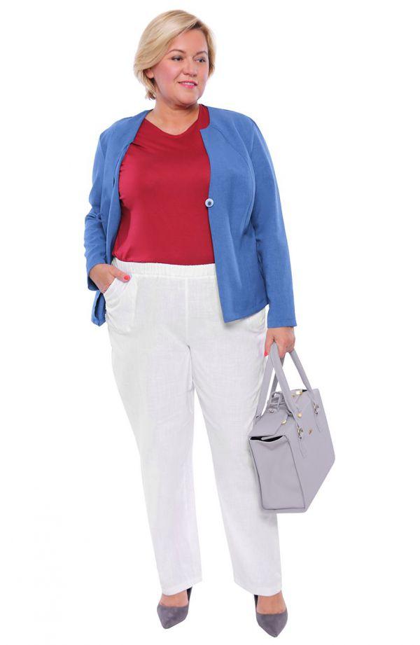 Długie bawełniane spodnie w białym kolorze
