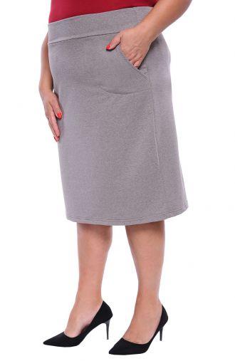 Szara spódnica z dzianiny dresowej