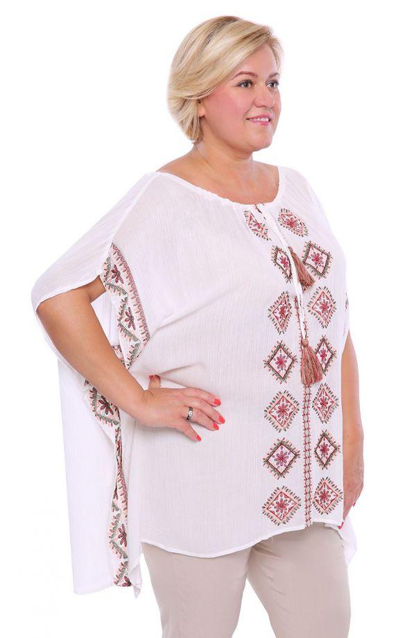 Białe ponczo z folkowym haftem