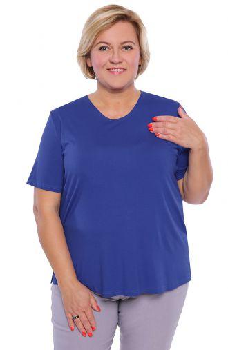 Koszulka z wiskozy w kolorze szafirowym